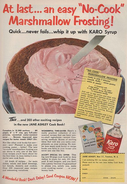 "No-cook"" Marshmallow Frosting recipe from Karo Syrup. Good ..."