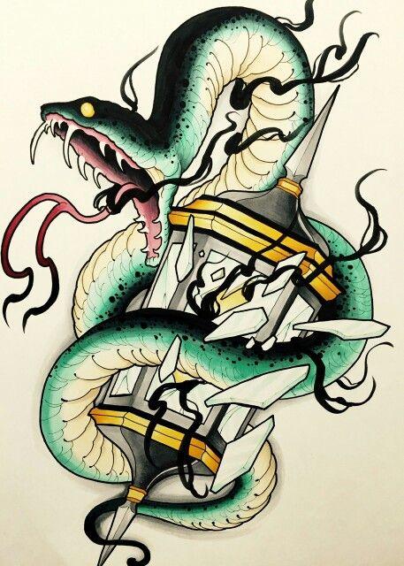 Snake neotraditional hourglass