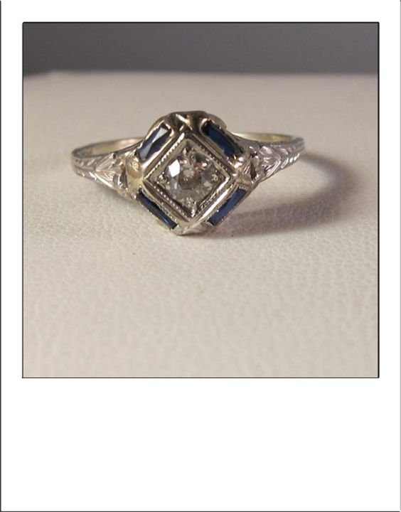Antique Art Deco 14k Diamond and Four Baguette by BellaJewelryShop, $599.00