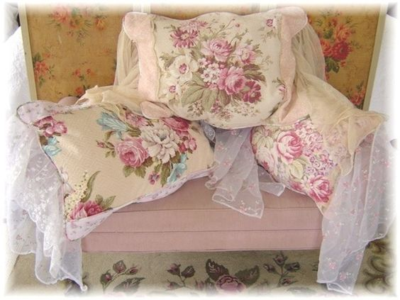 barkcloth and lace pillows from Shabby FuFu.