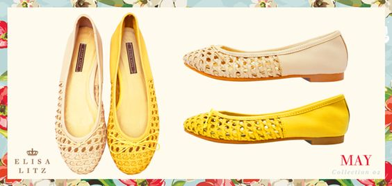Elisa Litz Featuring basket-weave, this pair of comfy flats is difficult to resist!  Avene Flats  Model Number: E1199 Available in Yellow and Pink  - 7 May 2013