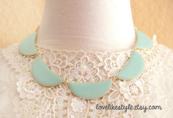 Mint Enameled Half Moon Shape Beads Bib Necklace by lovelikestyle, $20.00