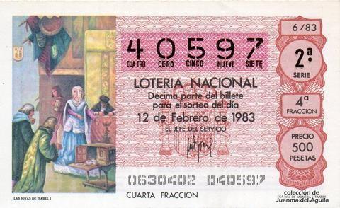 Décimo Del Sorteo Especial De Lotería De San Valentin Celebrado El 12 De Febrero De 1983 Coleccionismo Loteria Lotería Nacional Lotería Sorteo Especial