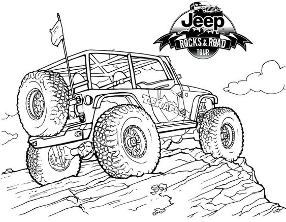 Jeep On Mountain Coloring Pages Jeep Drawing Jeep Art Cars Coloring Pages