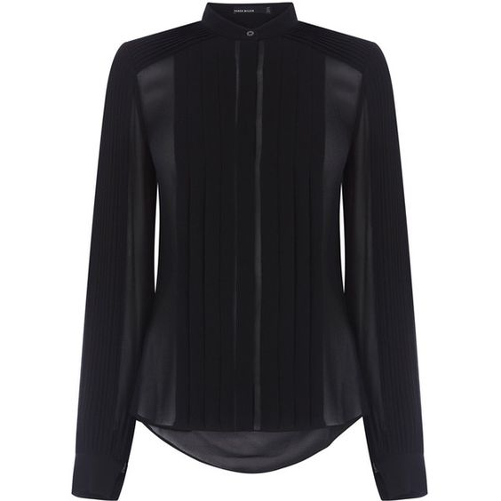 PINTUCKED SHEER SHIRT featuring polyvore fashion clothing tops pintucked shirt sleeve shirt sheer long sleeve top transparent shirt sheer long sleeve shirt