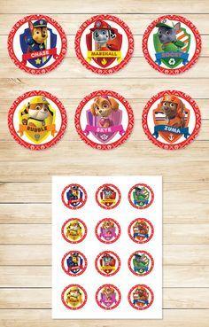 Free Printable Paw Patrol Cupcake Toppers | Paw Patrol Stickers | Red BG Theme…