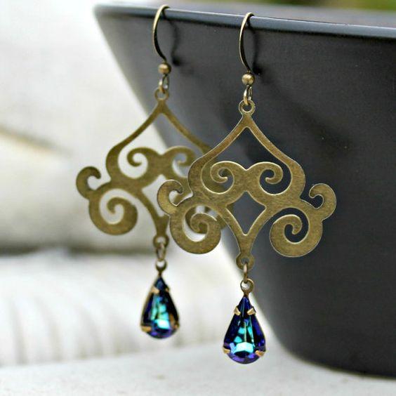 Bohemian Chandelier Earrings - Vintage Jewel, Teal Blue, Antique Brass, Silk Road, Dangle