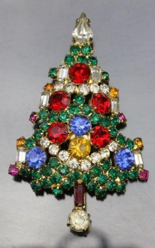 Vintage-Warner-Rhinestone-Christmas-Tree-Pin-Brooch: