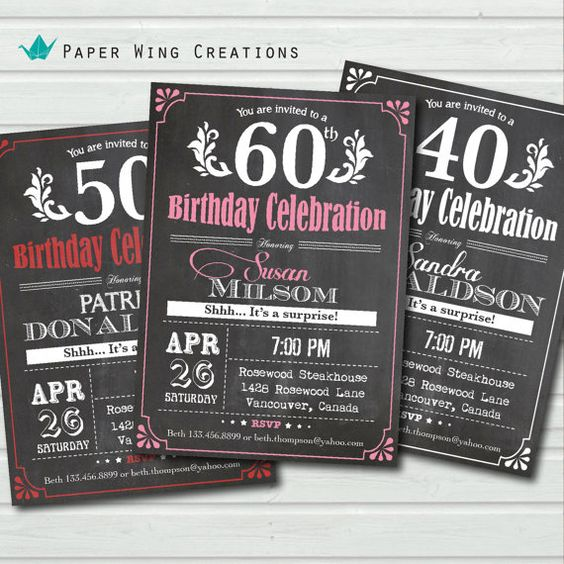Surprise 60th birthday invitation for woman / man. Retro  Chalkbaord Typography adult birthday invite. Pink. Any birthday. Printable AB29 on Etsy, $13.00