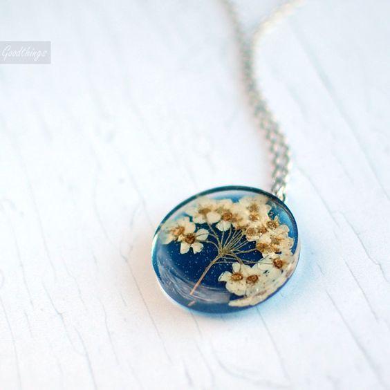 Pressed flower botanical necklace