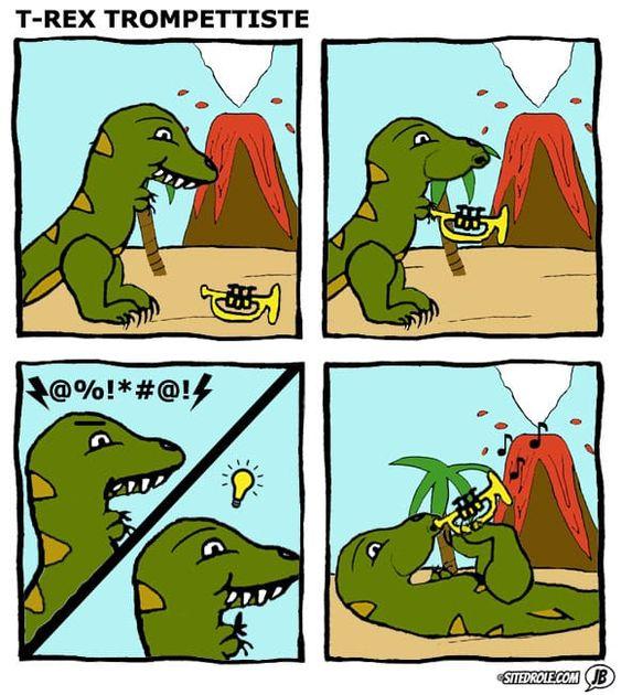 T-Rex Trompettiste – image drole humour memes Webcomics par JB