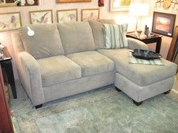 Sofa w/ Reversible Chaise Tan Waffle Fabric.  Chaise can be on either the right or left side of the sofa.