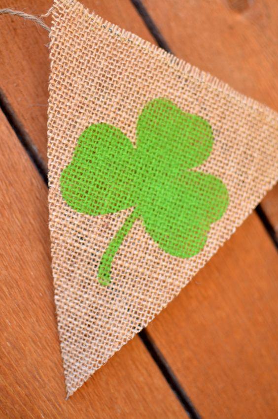 Shamrock burlap banner by etsy seller LylaDee.
