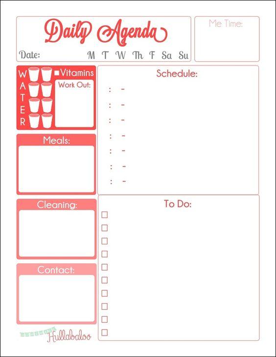 Free Daily Agenda Planner Printables  Agendas Organizacin