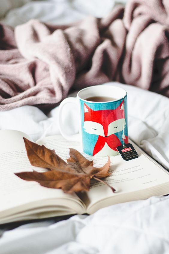 Foto de Melina Souza com um livro aberto em cima da cama e uma caneca de raposa com chá e uma folha seca em cima.  Post com vídeo respondendo a tag Fall Time Cosy Time que relaciona livros com elementos do Outono.: