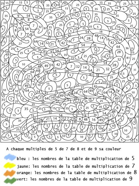 Exercice table de multiplication 2 3 4 5 coloriages for Multiplication table de 4