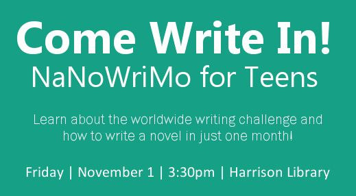 Learn about the worldwide writing challenge and how to write a novel in just one month Friday, November 1 at 3:30pm.