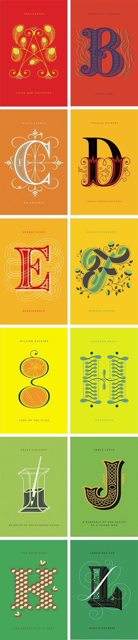 Ilustraciones de letras del alfabeto. Especial comienzo párrafo en literatura #Diseño #DiseñoGráfico
