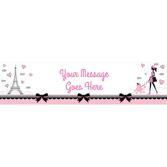 Check out Party in Paris Personalized Banner (Each) - Cheap Custom Supplies from…