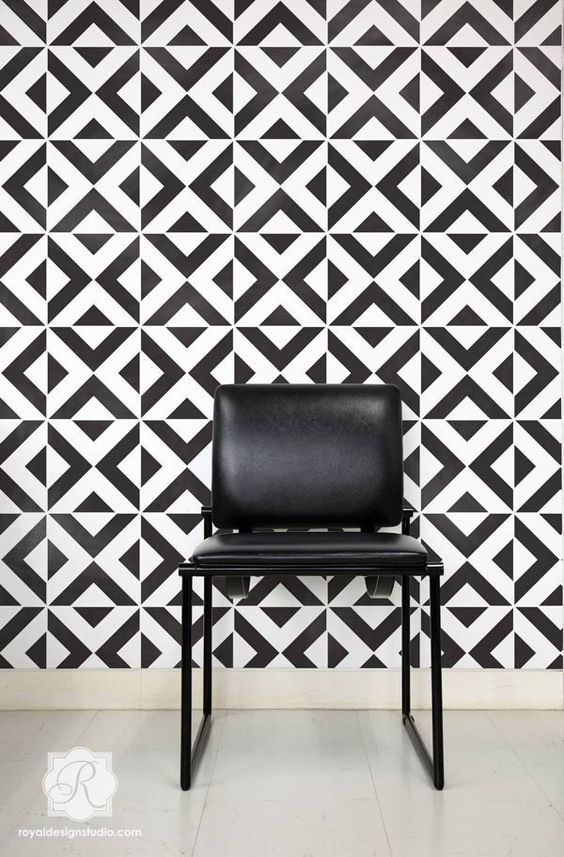 ... Walls - Bold Accent Walls Stenciled with All the Angles Wall Stencils