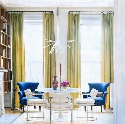 Dining room and dramatical curtains