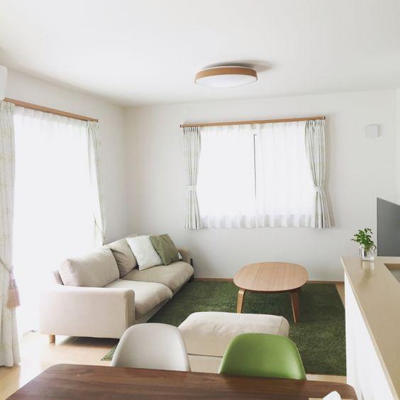 fumiさんの、部屋全体,観葉植物,無印良品,照明,カーテン,北欧,リビングダイニング,建売,建売住宅,ペットと暮らす家,のお部屋写真