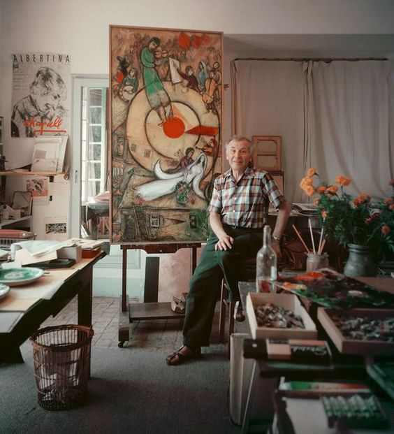 Marc Chagall in his studio, 1955. Photo by Mark Shaw