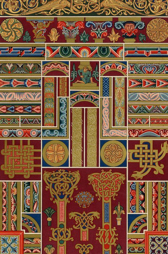 d tails sur architecture art moyen age motif d coration lithographie racinet xix me. Black Bedroom Furniture Sets. Home Design Ideas