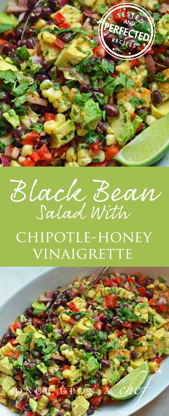 Black Bean & Corn Salad with Chipotle-Honey Vinaigrette - skip the honey (or use rice syrup) and replace veg oil with olive oil