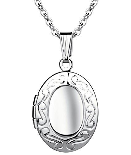 Yumilok Stainless Steel Pink//Blue Open Photo Locket Memory Oval Shape Pendant Necklace for Women//Girls//Couples