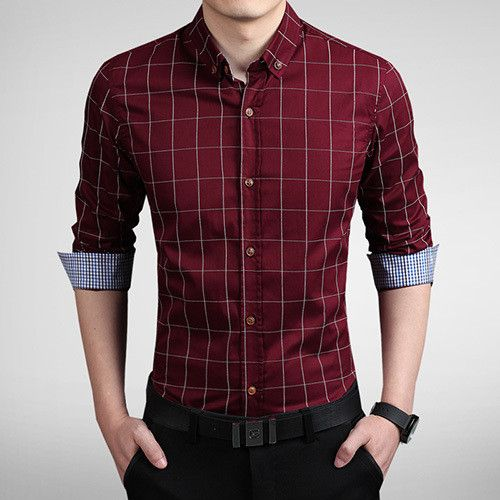 2015 Fashion Brand Men Slim Fit Shirt