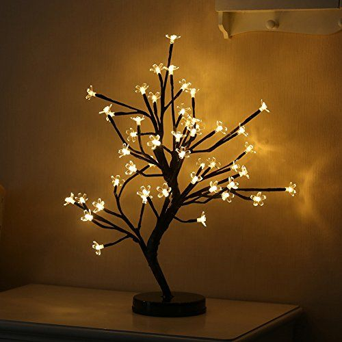 Hofumix 48 Led Light Decorative Tree Desk Top Led Lights Cherry Blossom Decorative Tree Battery Powered Cherry Blossom Light Up Tree Moon Pendant Light Lamp