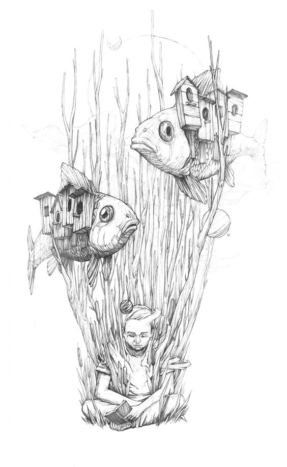 surrealism coloring pages | Surreal Drawings, Paintings and Murals by Rustam QBic ...