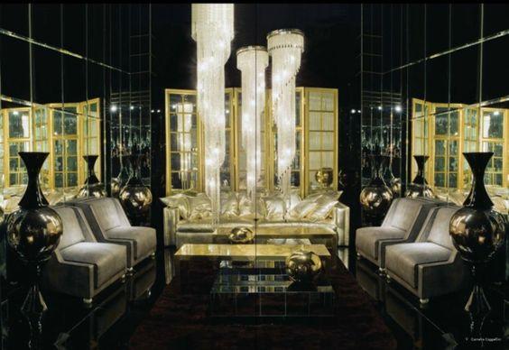 schwarzes-Wohnzimmer-goldene-Dekoration-klassische-Möbel Muebles ...