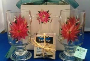 Poinsettia Mug Set $25.00 Buy and Sell Crafts On Line | Handmade Crafts to Sell? Free Posting
