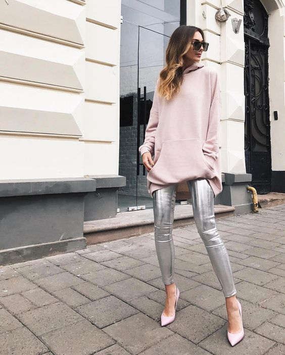 "Beautiful girl wearing WeAnnaBe hooded sweatshirt dress and silver metallic leggings. Check out our chic style ideas! Click ""Visit"" to buy it now. ----- Fall outfits, fall fashion 2017, fashion 2017 fall, outfit ideas, outfits fall, style fashion, style inspiration, women's fashion, women's fall fashion, women's fashion casual, hooded dress outfit. #womensfallfashion"
