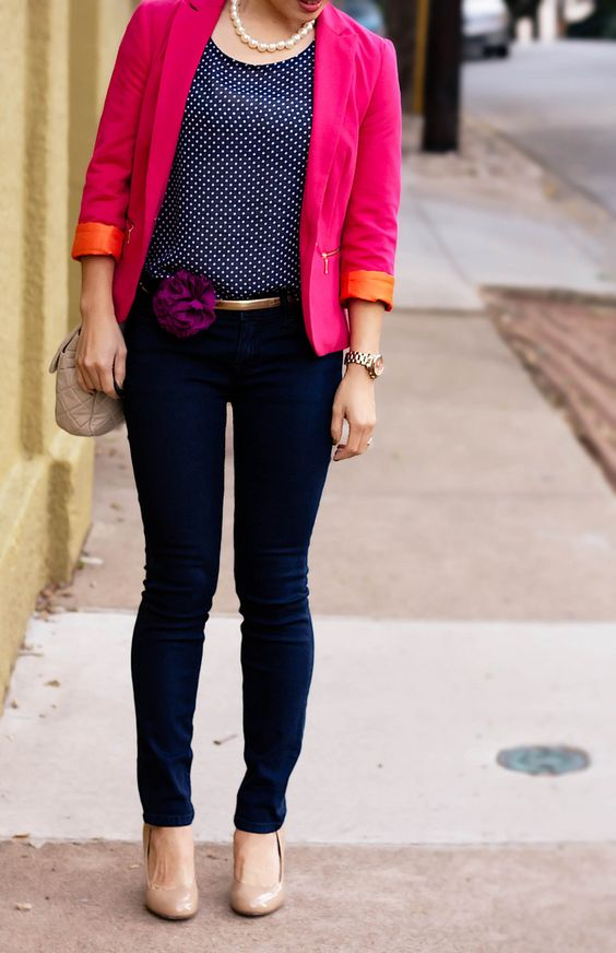 Navy and pink -- match jeans and top to make blazer pop