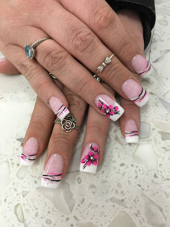 f801b415ea9b9e416487e0a0dd73fbae--anc-nail-designs-hand-made.jpg - Pink And White Nail Design Nail Art ANC 3D Flower Hand Done Nails