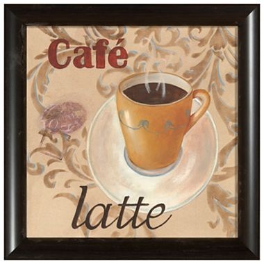 Cafe Latte Framed Wall Art Coffee Themed Kitchen Sf