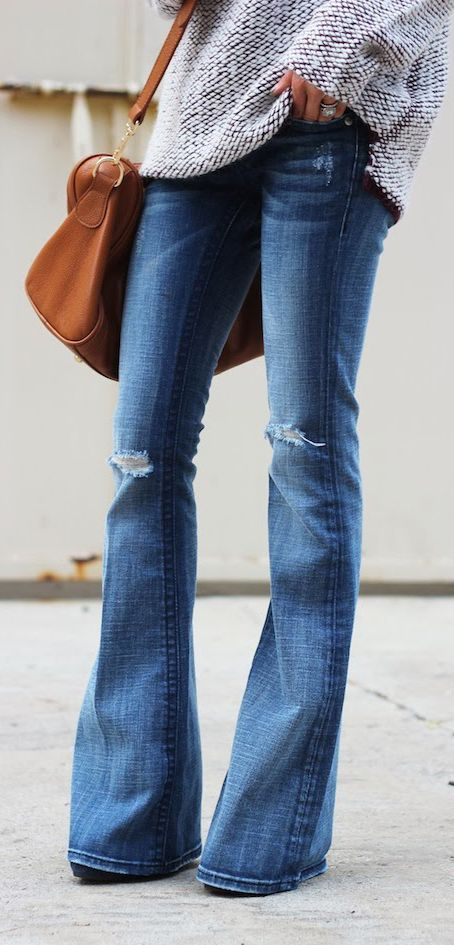 Flared jeans & chunky sweater: