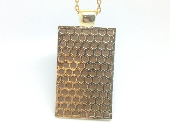 """Fitbit One pendant / necklace - Rectangle """"Honeycomb"""" Gold tone with taupe leather"""