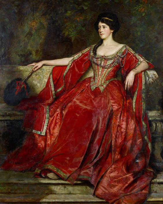 Portrait of Australian actress Alice Crawford (1883-1931), by British painter William Logsdail, ca. 1907. Alice was dressed for the role of Olivia in Twelfth Night.
