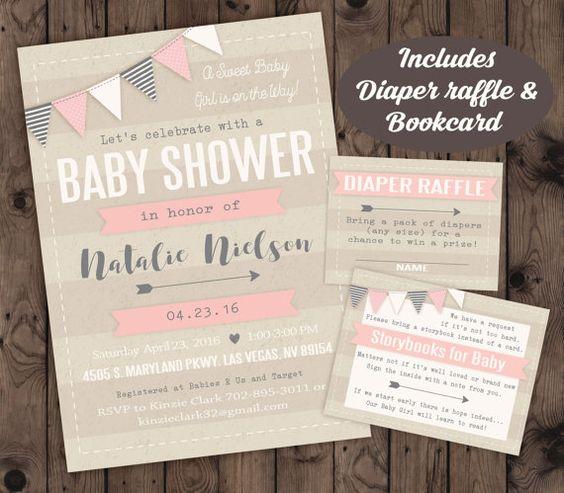 Niña bebé ducha invitación por WeeBabyShower en Etsy
