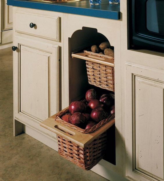 Storing potatoes i love and the o 39 jays on pinterest for Kraftmaid storage solutions