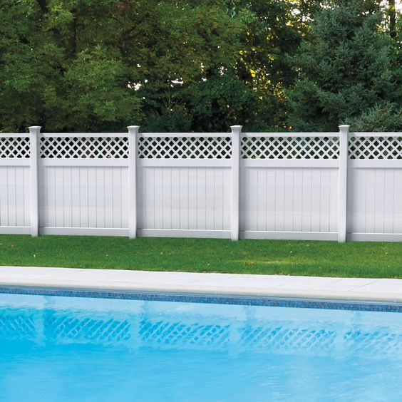 Shop freedom ready to assemble freeport white lattice top for Pool privacy screen