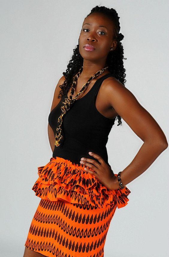 orange and black african printed skirt by ngozi on Etsy, $60.00
