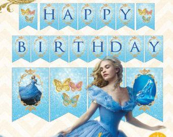 Feliz cumpleaños de Cenicienta para imprimir y decoración Banners descarga inmediata