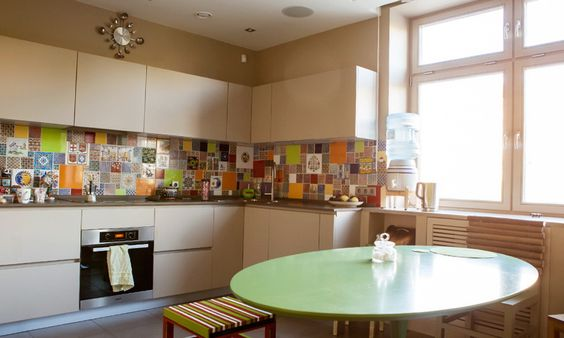 great-colourful-kitchen-tiles-on-kitchen -with-apartment-with-predominance-of-green-colour-tiles-brought-8.jpg  (935561) | back splash | Pinterest | Kitchens