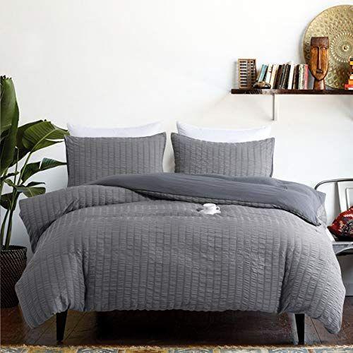 Ikonicasa Dark Gray Seersucker Duvet Cover Set Elegant Design Natural Style Soft Breathable Duvet Cover Easy C Bed Duvet Covers Grey Bedding Microfiber Bedding