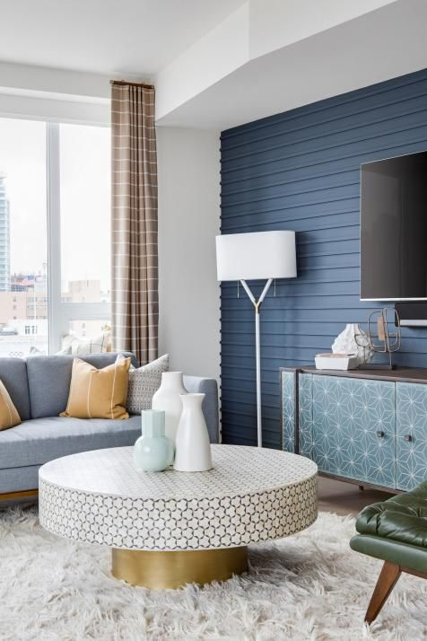 Midcentury Modern Living Room With Blue Accent Wall Accent Walls In Living Room Transitional Living Room Design Transitional Decor Bedroom